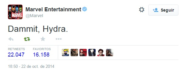 Tweet de Marvel