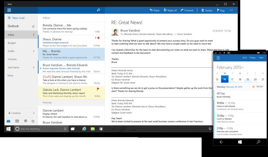 Interfaz de Outlook