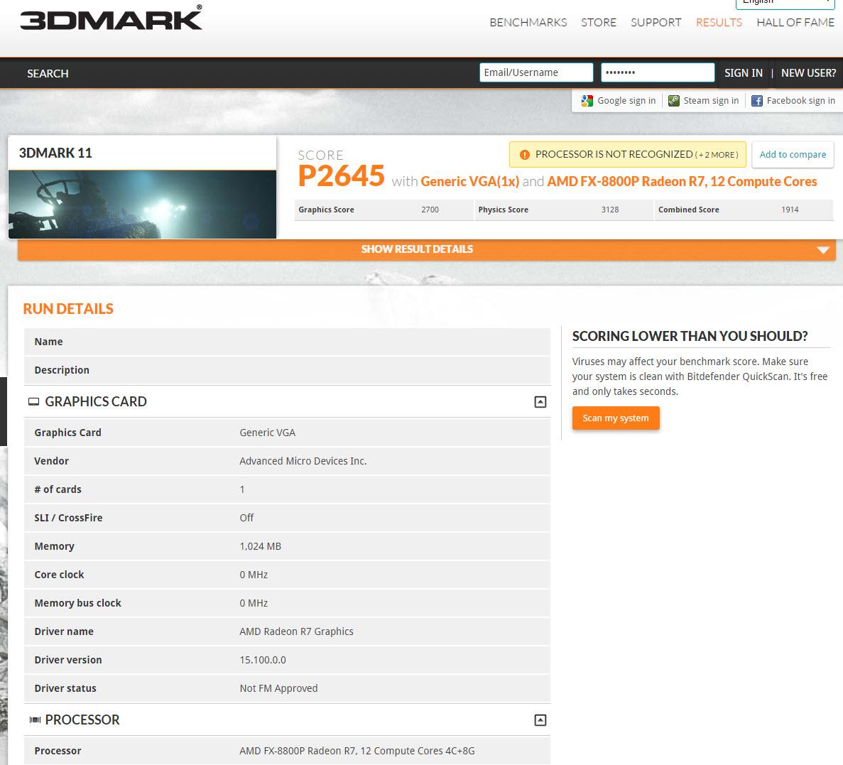Prueba 3dMark 8800