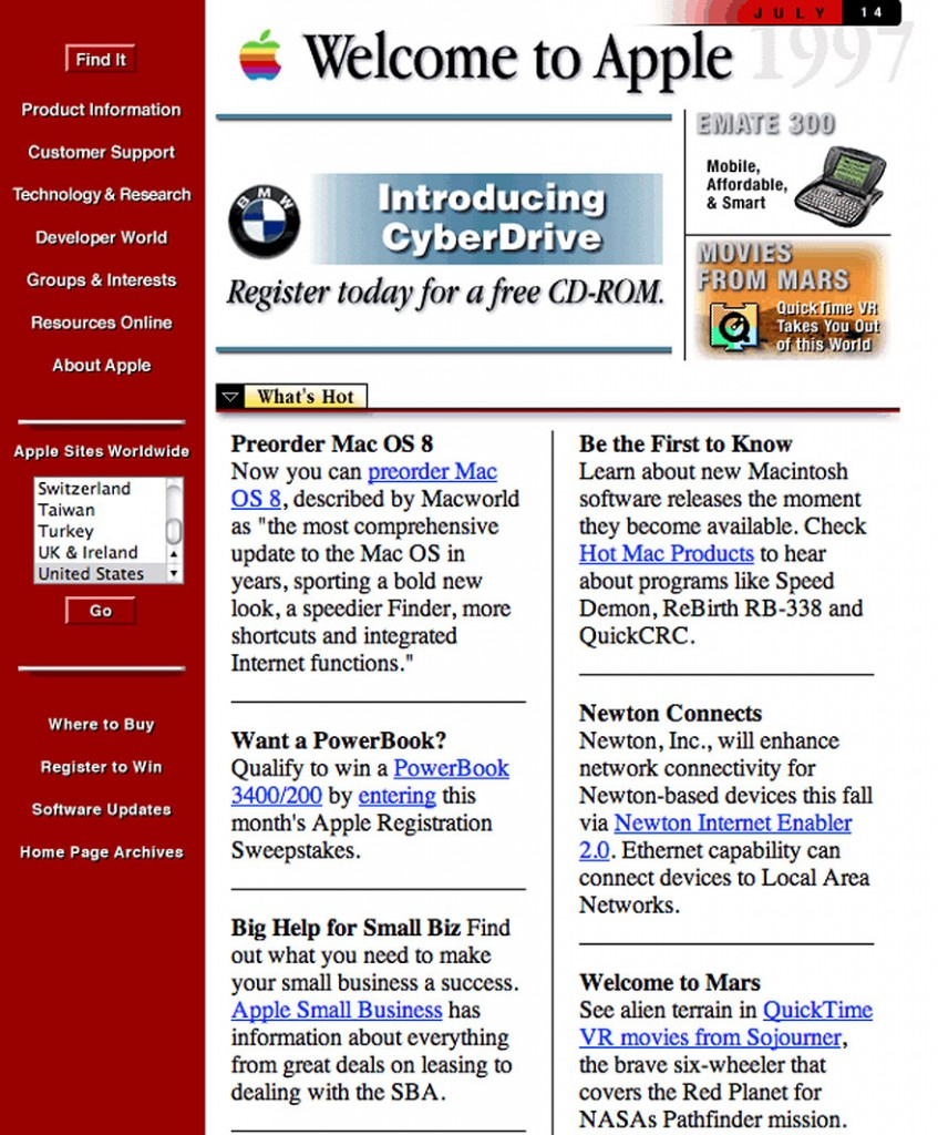 Web Site de Apple, en 1996