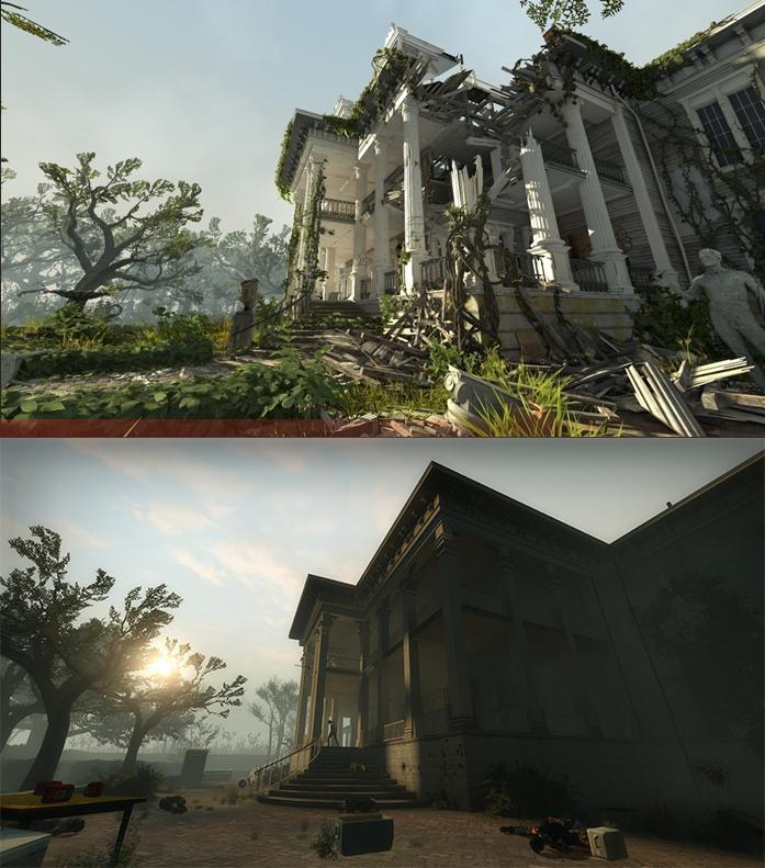 Comparación de una fase de Left 4 Dead 2 en Source y Source 2