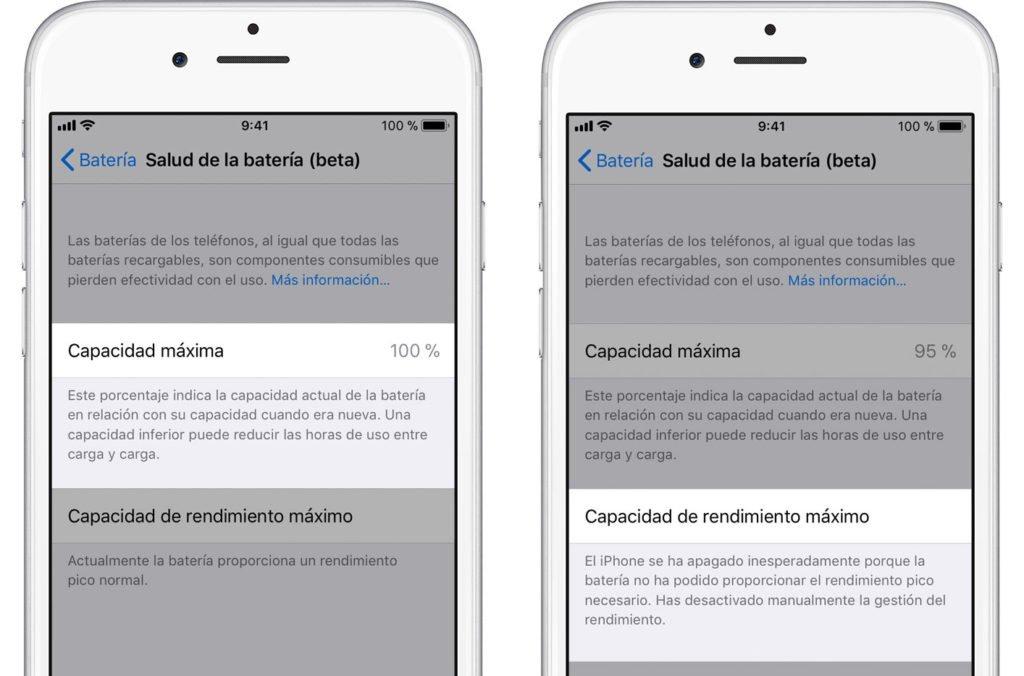 Apple agrega pantalla de salud de bateria